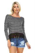 Load image into Gallery viewer, Women's Long Sleeve Stripe Hatchi Top with Crochet Front Hem