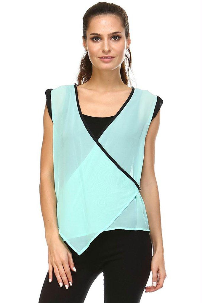 Women's Sleeveless Woven Surplice Top