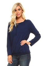 Load image into Gallery viewer, Women's Long Sleeve Navy Peasant Top
