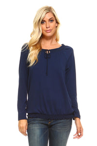 Women's Long Sleeve Navy Peasant Top