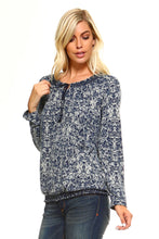 Load image into Gallery viewer, Women's Long Sleeve Navy Printed Peasant Top