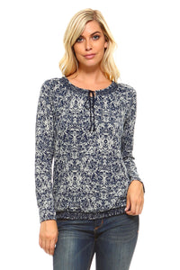 Women's Long Sleeve Navy Printed Peasant Top
