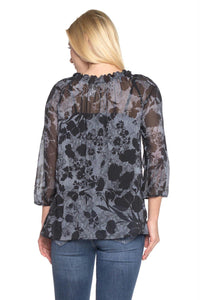 Women's Floral Printed Chiffon Button Front Top with Tank Lining