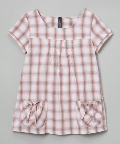 Girls Pink Plaid Dress