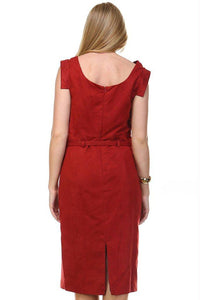 Women's Suede Draped Neckline Sleeveless Dress