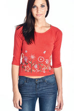Load image into Gallery viewer, Women's Floral Embroidered Tie-Back Crop Sweater