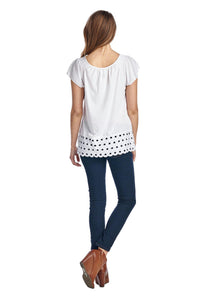Women's Jersey Keyhole Top with Hem Detail
