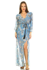 Women's Long Sleeve V-Neck Floral Belted Maxi with Side Slit