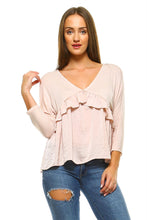 Load image into Gallery viewer, Women's 3/4 Three Quarter Sleeve Ruffled V-neck Top