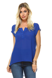 Women's Short Sleeve Button Up Hi-Low Top