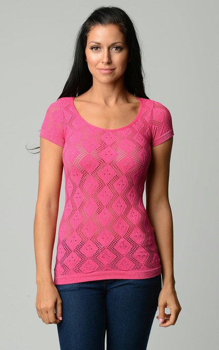 Women's Textured Knit Stretch Glitter Top