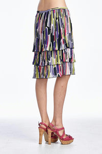 Larry Levine Layered Pleated Skirt