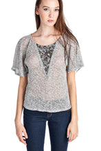 Load image into Gallery viewer, Women's Embellished Flutter Sleeve Top