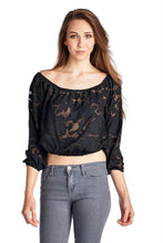 Load image into Gallery viewer, Women's 3/4 Three Quarter Sleeve Burnout Crop Top