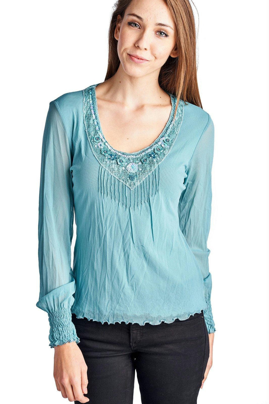 Women's Long Sleeve Mesh Top