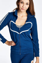 Load image into Gallery viewer, Women's Stripe Sleeve Heart Detail Active Jacket