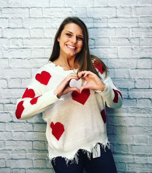 Valerie Heart Frayed Sweater - brookesshop