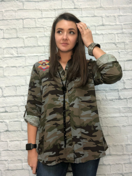 Onyx Camo Top With Detailed Back - brookesshop