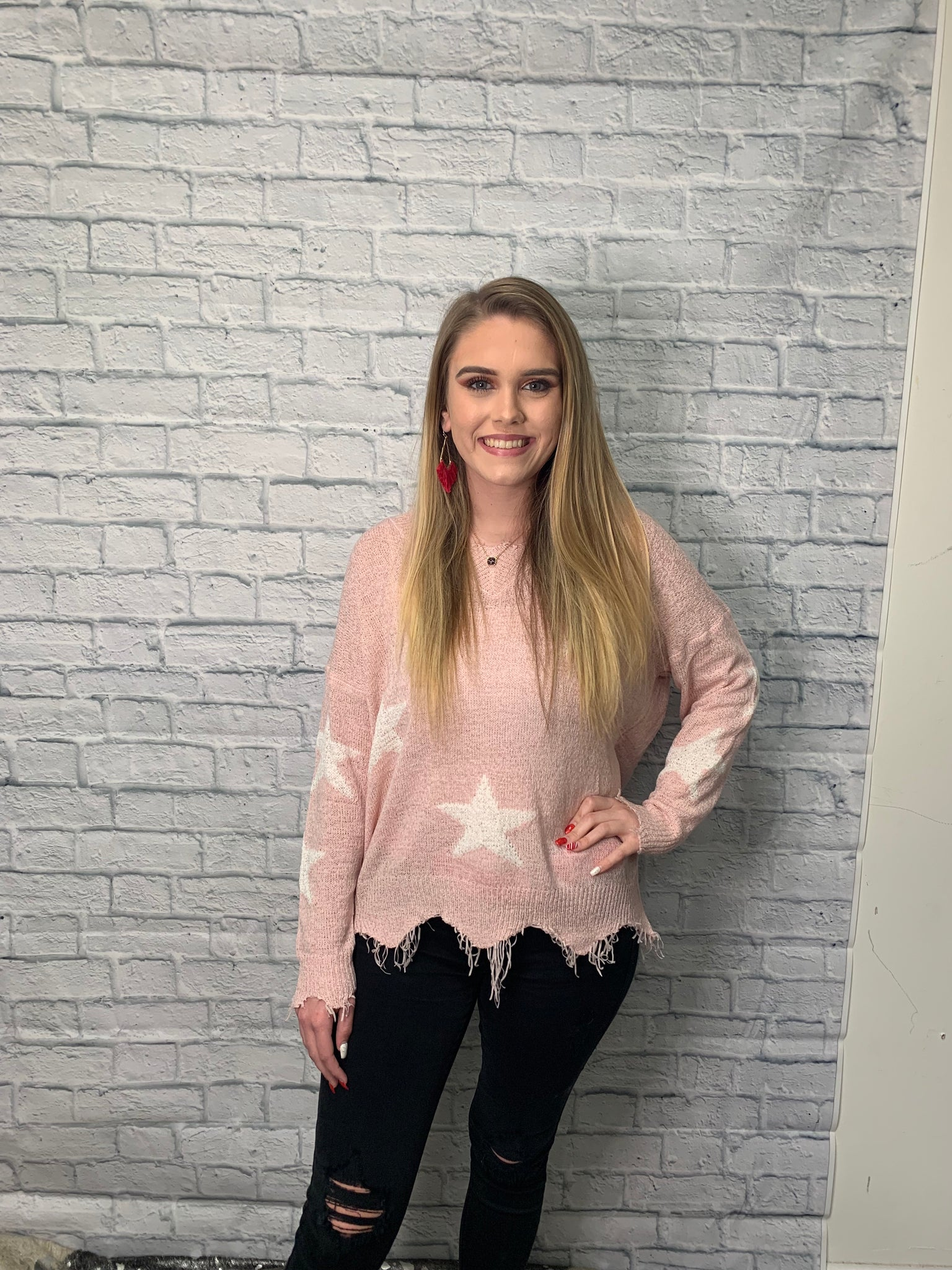 Aliah Frayed Star Sweater - brookesshop