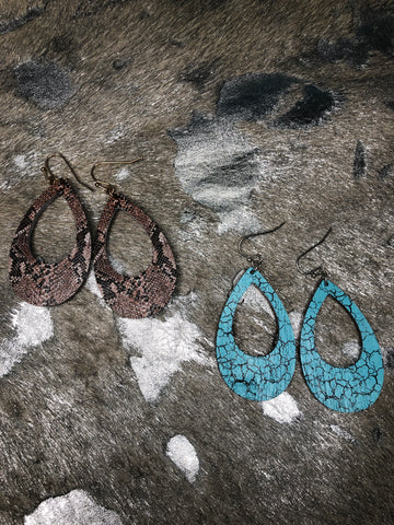 Saddler Hoop Snakeskin Earrings