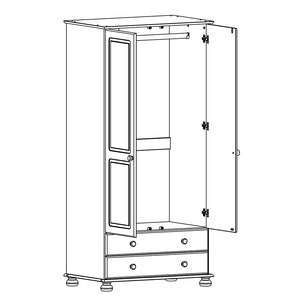 Copenhagen 2 door 2 drawer Wardrobe in White