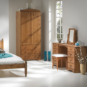 Scandi 2 Door Wardrobe with 3 drawers in Pine