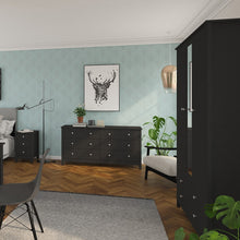 Load image into Gallery viewer, Florence 3 Door 4 Drawer wardrobe with mirror in Black