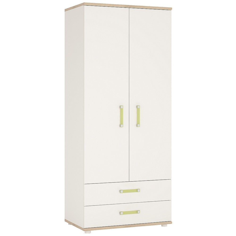 4KIDS 2 door 2 drawer wardrobe with lemon handles