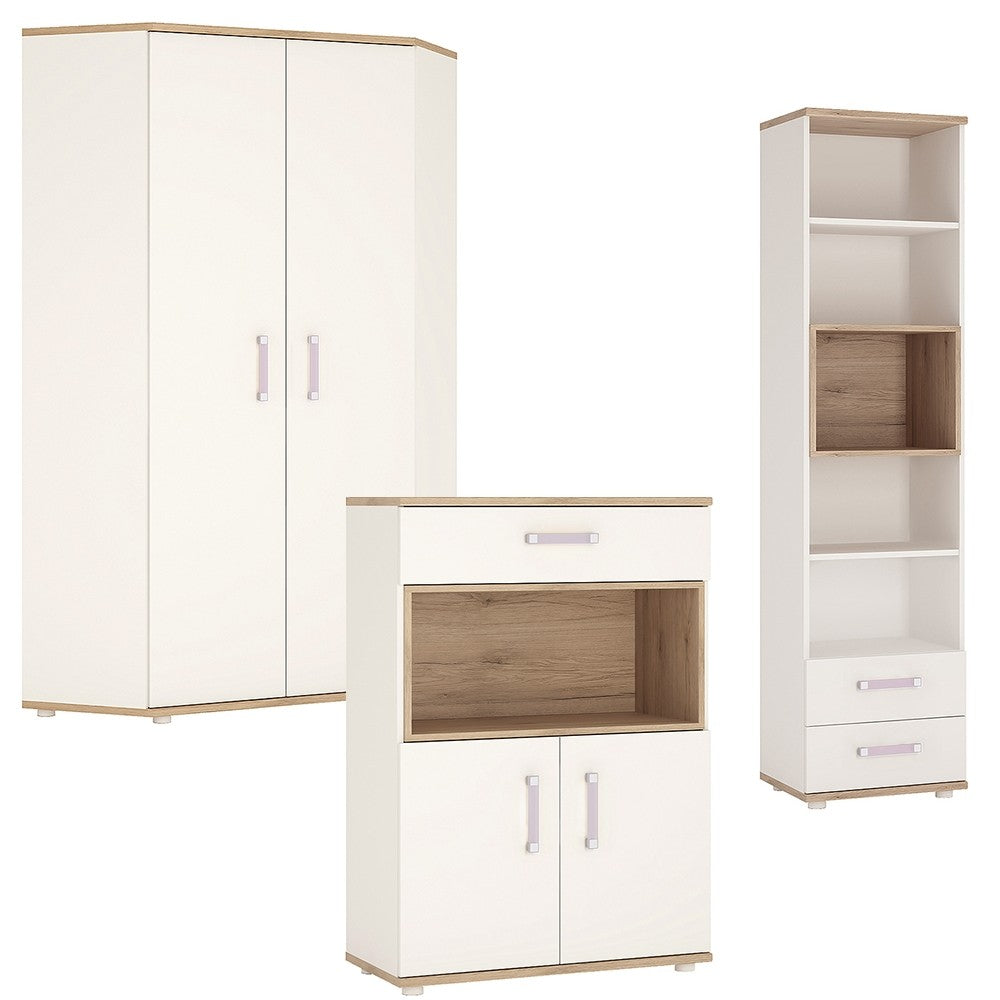 4KIDS Corner Wardrobe with tall bookcase and cupboard (lilac package) - 4052140 + 4053140 + 4051140