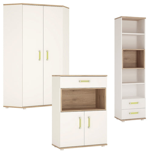 4KIDS Corner Wardrobe with tall bookcase and cupboard (lemon package) - 4052141 + 4053141 + 4051141