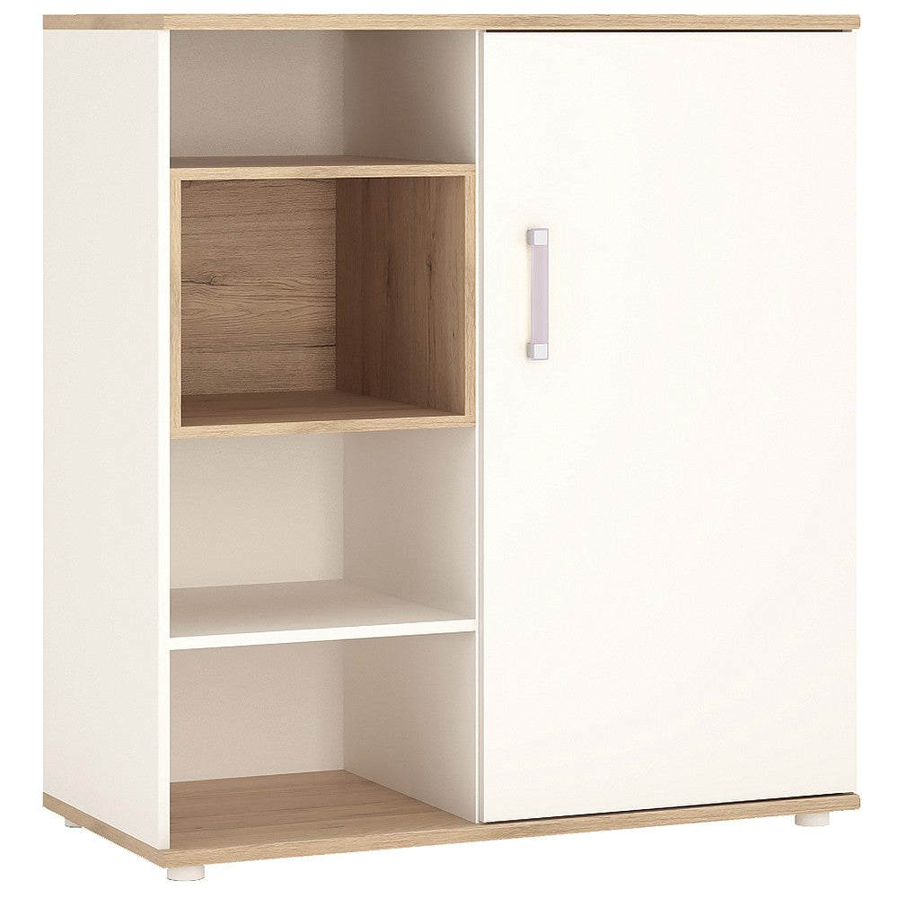 4KIDS Low cabinet with shelves (sliding door) with lilac handles
