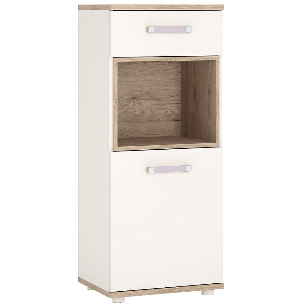 4KIDS 1 door 1 drawer narrow cabinet with lilac handles