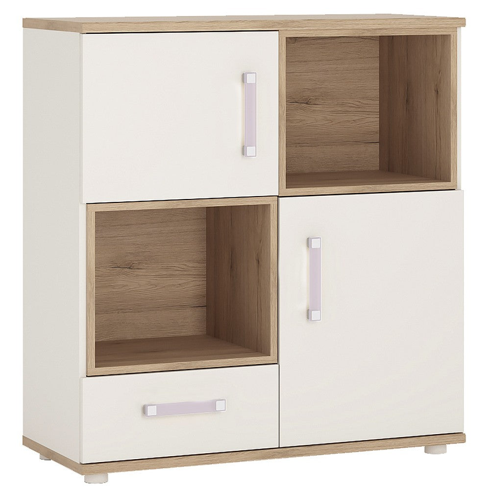 4KIDS 2 door 1 drawer cupboard with 2 open shelves with lilac handles