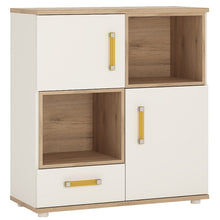 Load image into Gallery viewer, 4KIDS 2 door 1 drawer cupboard with 2 open shelves with orange handles