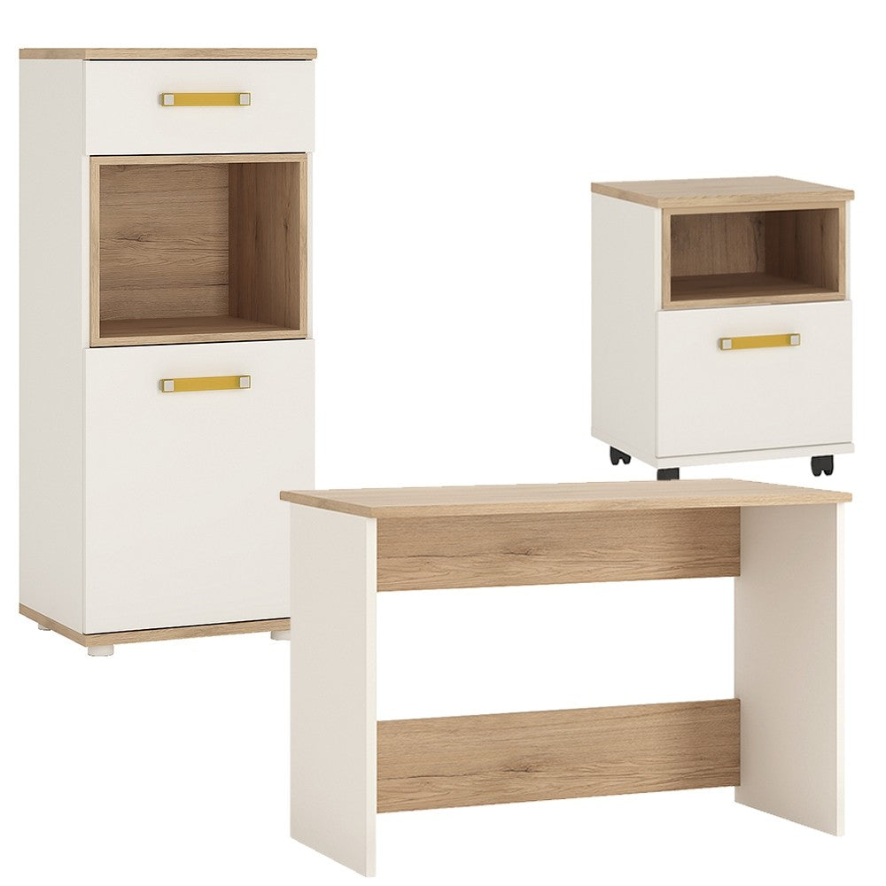 4KIDS Desk with mobile and narrow cabinet (orange package) - 4058544P + 4058144P + 4053344P