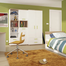 Load image into Gallery viewer, 4KIDS Tall 2 drawer bookcase with lemon handles