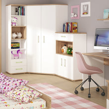 Load image into Gallery viewer, 4KIDS 2 door 1 drawer cupboard with 2 open shelves with lemon handles
