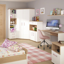 Load image into Gallery viewer, 4KIDS 2 door 1 drawer cupboard with open shelf with lilac handles