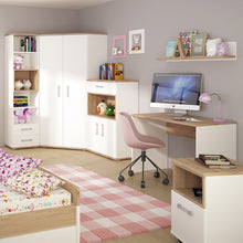 Load image into Gallery viewer, 4KIDS 2 door 1 drawer cupboard with 2 open shelves with opalino handles