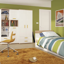 Load image into Gallery viewer, 4KIDS 2 door 2 drawer wardrobe with orange handles
