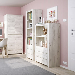 Angel Tall Narrow 3 Drawer Bookcase