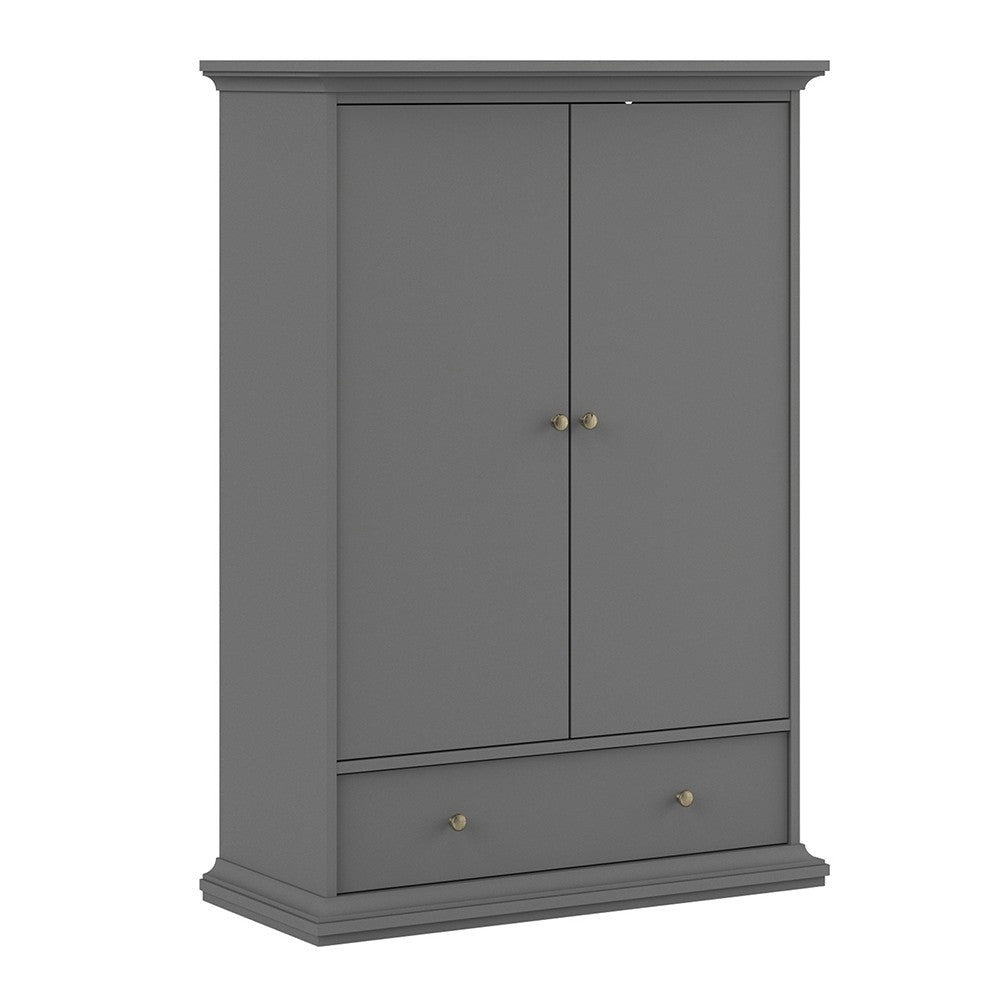 Paris Wardrobe with 2 Doors 1 Drawer 2 Shelves in Matt Grey