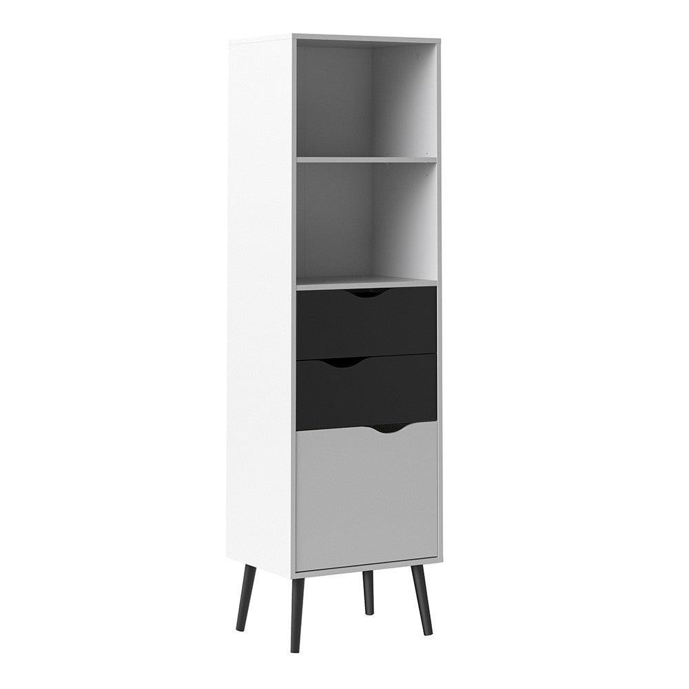 Oslo Bookcase 2 Drawers 1 Door in White and Black Matt