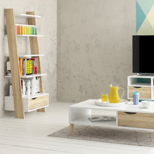 Load image into Gallery viewer, Oslo Leaning Bookcase 1 Drawer in White and Oak