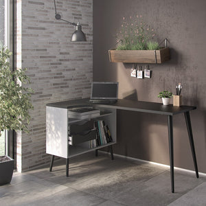 Oslo Desk 2 Drawer in White and Black Matt