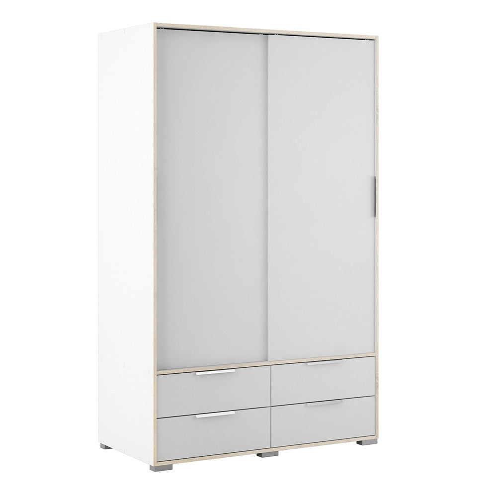 Line Wardrobe - 2 Doors 4 Drawers in White and Oak