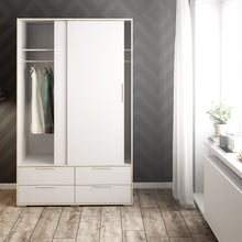 Load image into Gallery viewer, Line Wardrobe - 2 Doors 4 Drawers in White and Oak