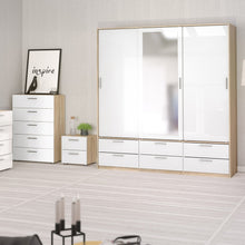 Load image into Gallery viewer, Line Wardrobe - 3 Doors 6 Drawers in Oak with White High Gloss