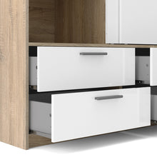 Load image into Gallery viewer, Line Wardrobe - 2 Doors 4 Drawers in Oak with White High Gloss