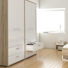 Load image into Gallery viewer, Homeline Wardrobe - 2 Doors 2 Drawers in Oak with White High Gloss